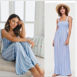 H&M Blue white striped jumpsuit Smocking Bloggers
